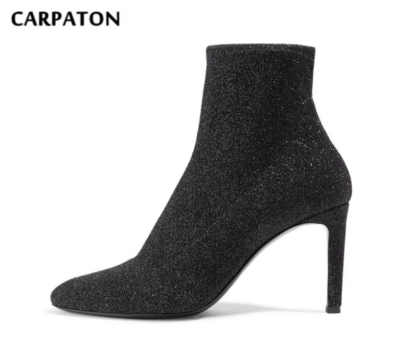 Carpaton Newest Elastic Knitted High Heel Boots 2018 Bling Bling Glitter Ankle Boots for Woman Sexy Stretch Fabric Stiletto Boot