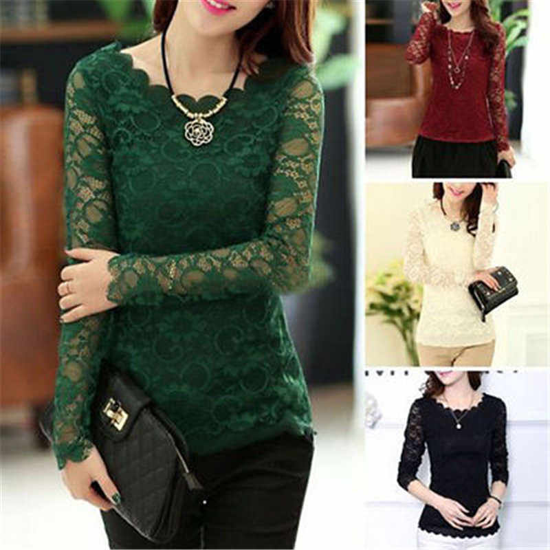 2017 summer fashion Vintage Style Womens Elegant Crochet Openwork Lace Patchwork Blouses Crew Neck Long Sleeve Shirts