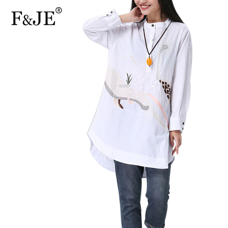 F&JE 2017 Spring New Arts Style Women long sleeve Loose Casual Shirt cotton linen Embroidery Vintage Blouse Tops Plus Size J742