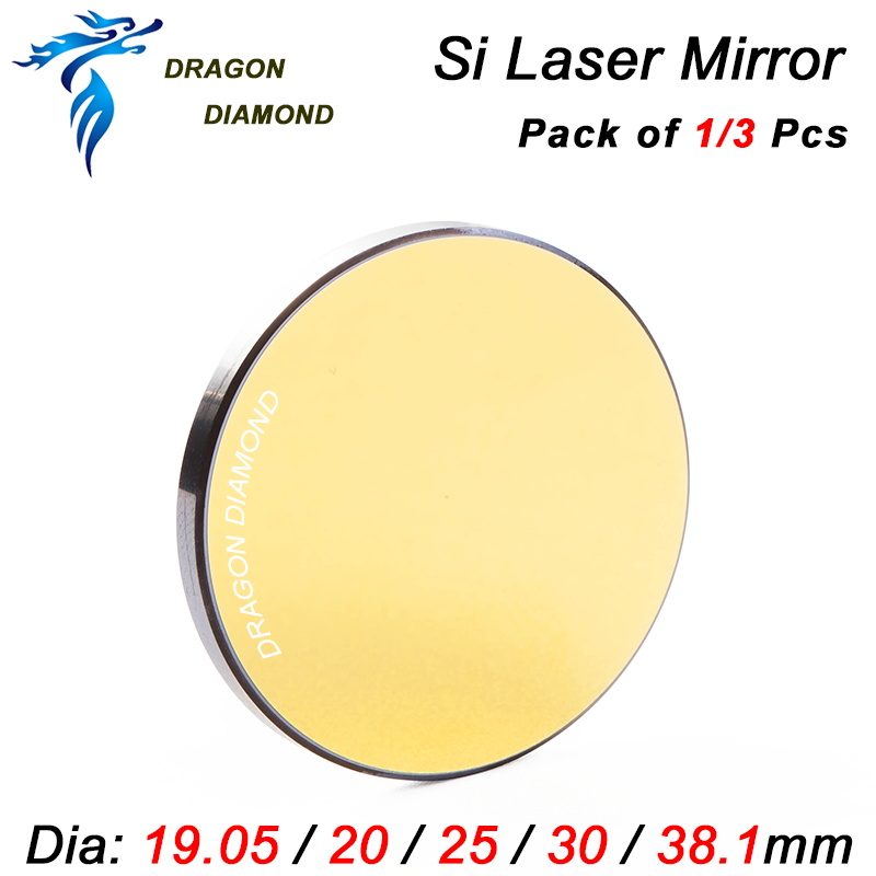 цены 1pcs 3pcs Co2 Laser Cutting Engraving Si Mirror Dia 19.05mm 20mm 25mm 30mm 38.1mm Laser Silicon Reflective Mirror
