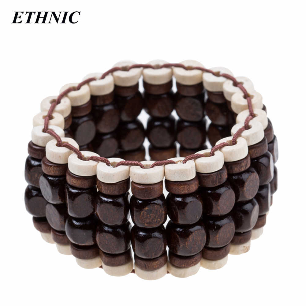 Retro Wide Handmade Dark/Light Beaded Wood Charm Elastic Chain Bracelets for Women Fashion A Bracelet