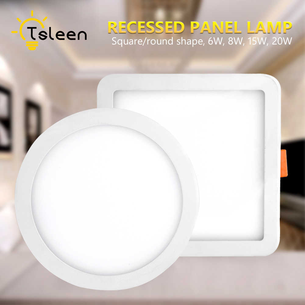TSLEEN Ultra-thin 6W 8W 15W 20W Round Square Panel LED Aluminum LED Panel Light Recessed Mounted Downlight ceiling down lamp
