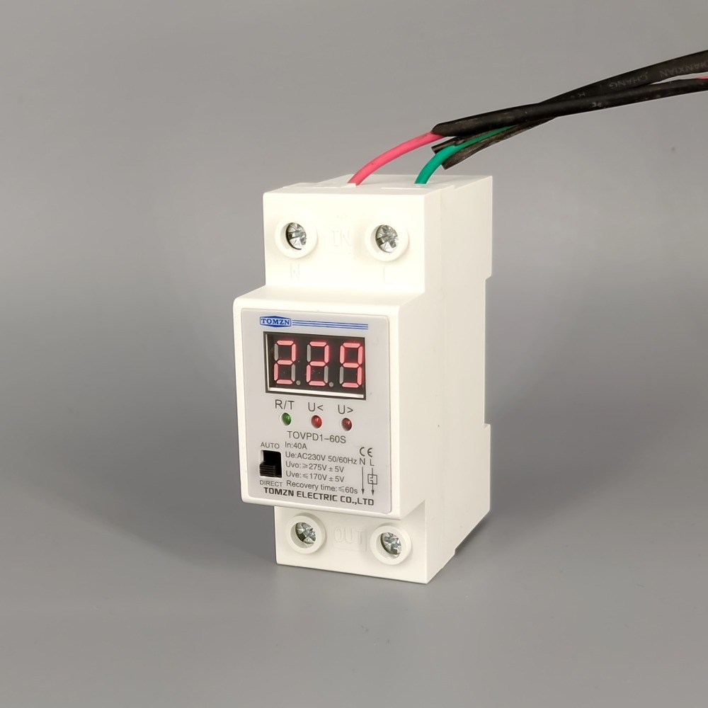 40A 220V ON/OFF reconnect over voltage and under voltage protection protective device relay with Voltmeter voltage monitor40A 220V ON/OFF reconnect over voltage and under voltage protection protective device relay with Voltmeter voltage monitor
