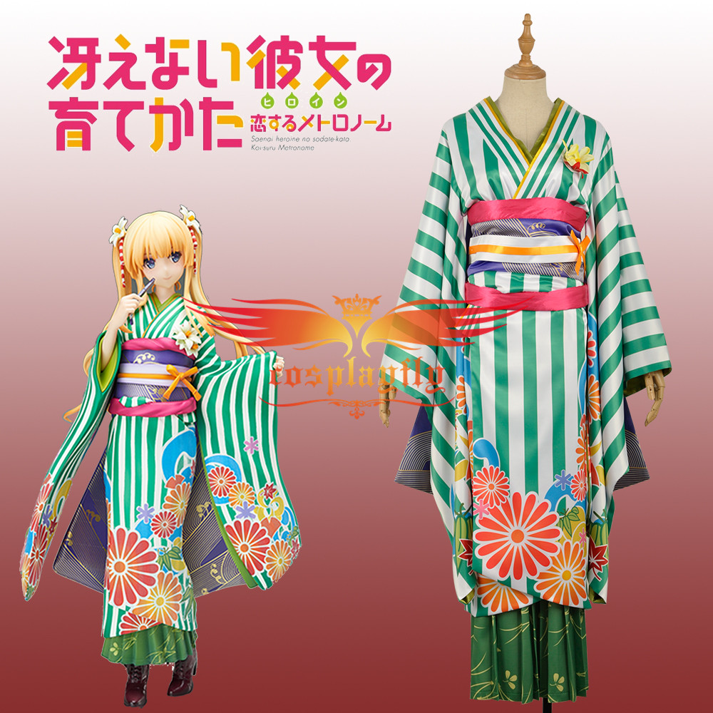 Saekano How to Raise a Boring Girlfriend Eriri Spencer Sawamura Green kimono Cosplay Costume Custom Made