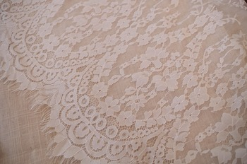 off white chantilly lace fabric, French lace fabric,5 meters