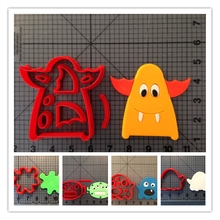 Monster Series Custom Made 3D Printed Fondant Cupcake Top Cake Decorating Tools Cookie Cutter Set