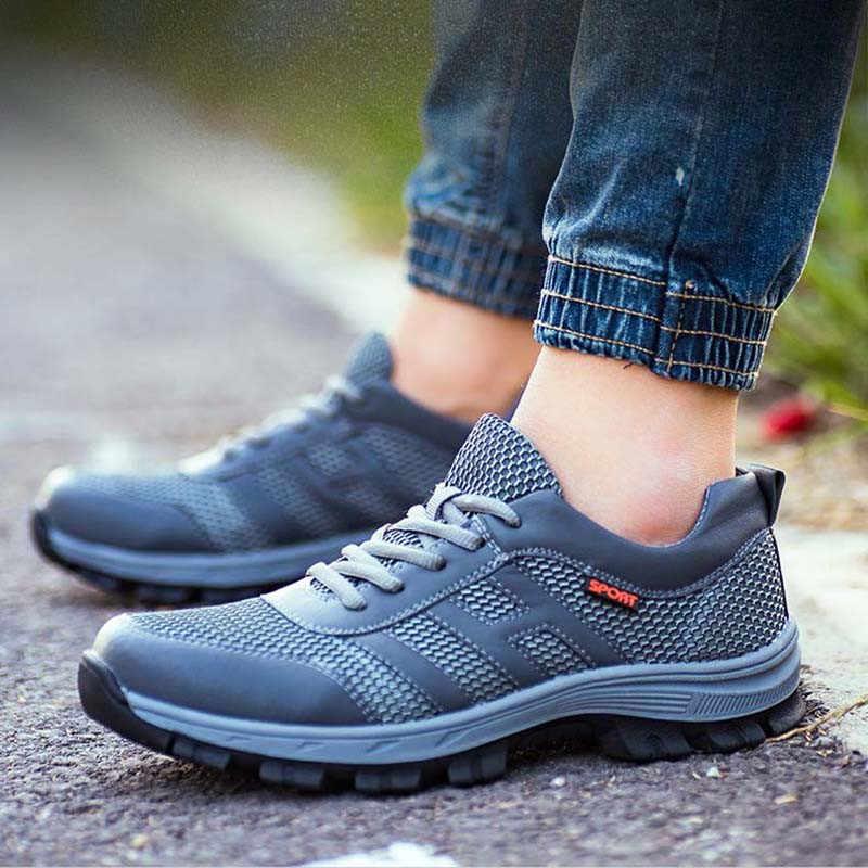 Ayakkabı Nefes Güvenlik Ayakkabıları Erkekler Yaz Hafif iş ayakkabısı Çelik Ayak Yumuşak Alt Delme geçirmez İş güvenliği botları Erkekler Için