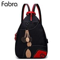 Fabra Women Waterproof Nylon Backpacks Girl School New Shoulder Bags Girls Rucksack Small Patchwork Tassel Black