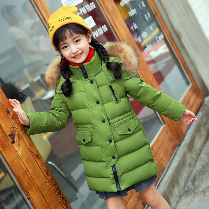 Children Outerwear Fashion Winter Jacket Girls Winter Coat Kids Warm Thick Fur Collar Hooded long down Coats For Teenage 2Y-13Y стоимость