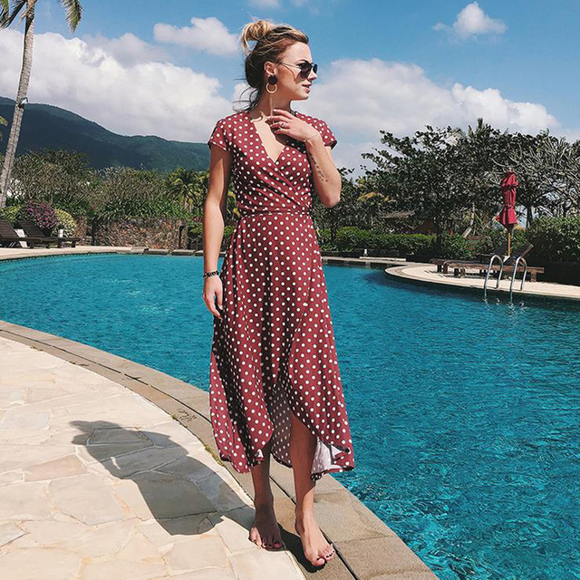 Polka Dot Dress Summer Dress Women Beach Dresses Bohemian V Neck Split Asymmetric Long Elegant Party Vestidos Wrap Dresses