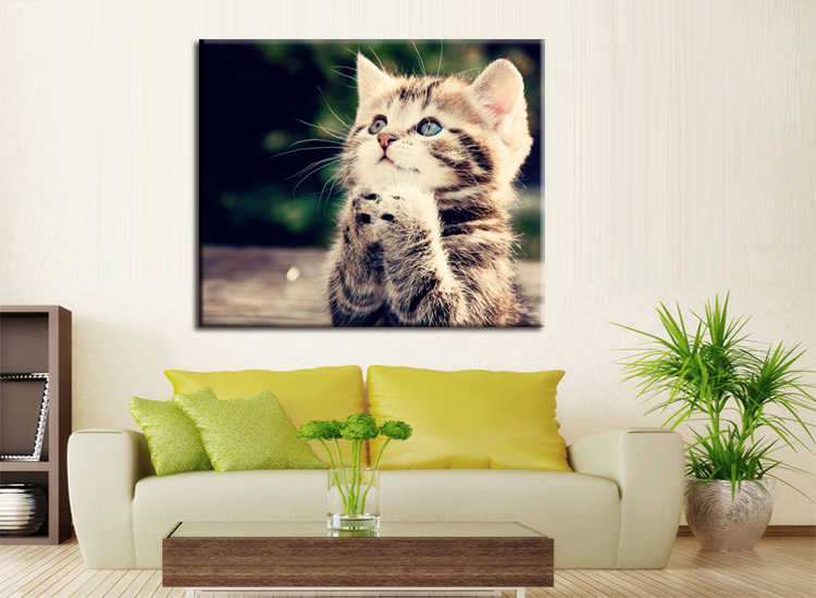 1 pieces / set HD Print Wall Canvas Paintings Cat Art With Animal Poster For Living Room