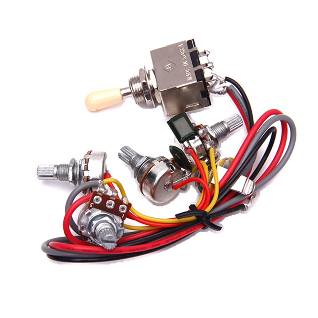 Metal Wire 2v / 2t / 1j Wiring Circuit LP Electric Guitar Circuit Wiring 3 Frame Switch Selector Pad
