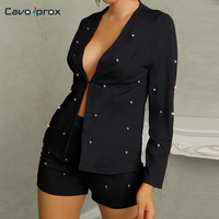 Women Two Piece Sets Fashion Beading Blazer Sets Long Sleeve Two Piece Matching Outfits Rave Festival Clothing Mini Shorts