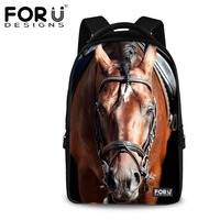 FORUDESIGNS Casual Men Backpack Cool Animal Horse Prints Children Backpacks For School Large Capacity Laptop Backpack