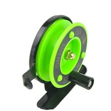 Winter Ice fishing wheel Mini reel  small front Green Color