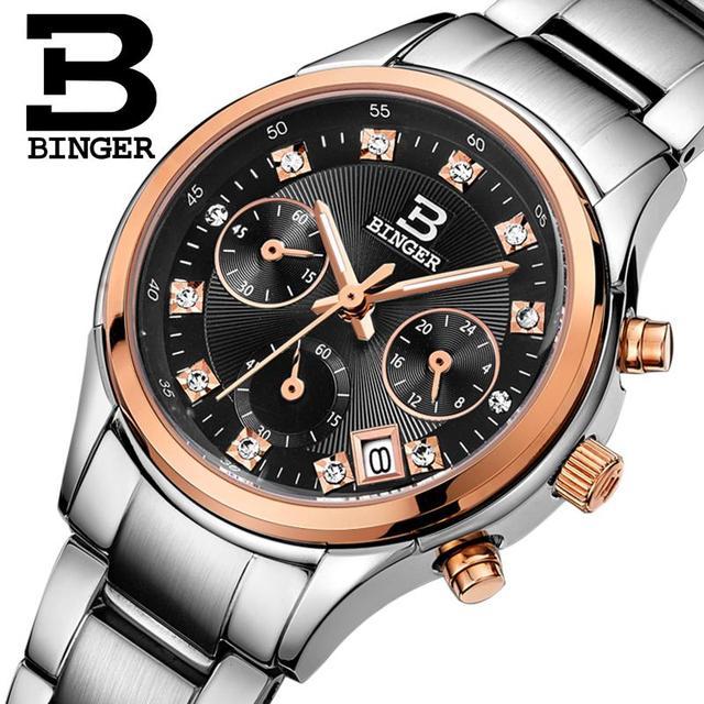 Швейцария Binger Для женщин часы Роскошные Кварцевые Водонепроницаемый Полный нержавеющей стали Хронограф Наручные часы bg6019-w3