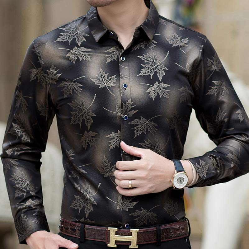 2019 new social long sleeve maple leaf designer shirts men slim fit vintage fashions men's shirt man dress jersey clothing 36565 5
