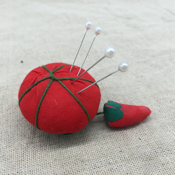 1Pcs Novelty Cotton Tomato Shaped Ball Crafts Sewing Needles Holder Pin Cushion DIY grille
