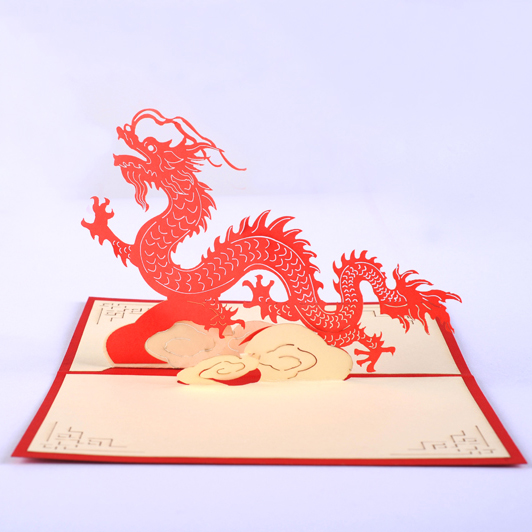 The Chinese dragon card /3D  kirigami card/ handmade greeting cards gift for men  Free shipping stylish striped and print design satchel for women