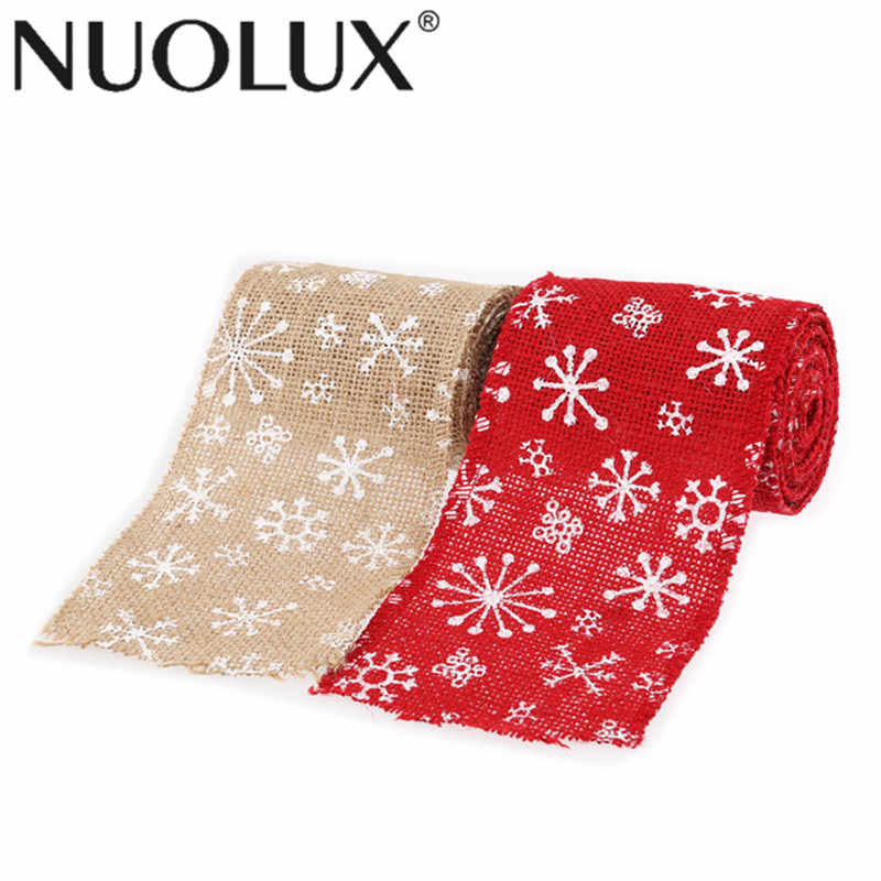 2M 6CM Snowflake Style Burlap Craft Ribbon For DIY Crafts Home Wedding Christmas Decoration