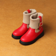 2016 Girls Shoes Red Knitting Wool Boots  Winter New Princess Boots Cotton Children's Boots Winter Tide Kids Shoes Children