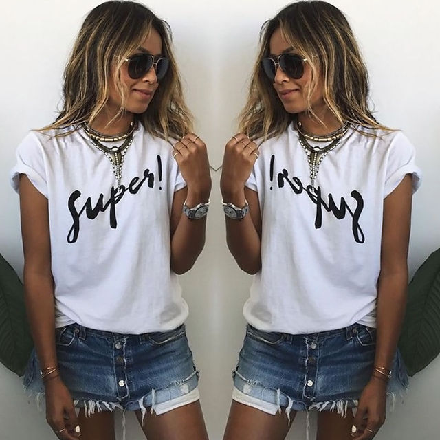 JX YSY Summer Loose Female Super Letter Printed Women T shirt Tee Tops Short Sleeve White Women Shirts Big Size Women Clothes