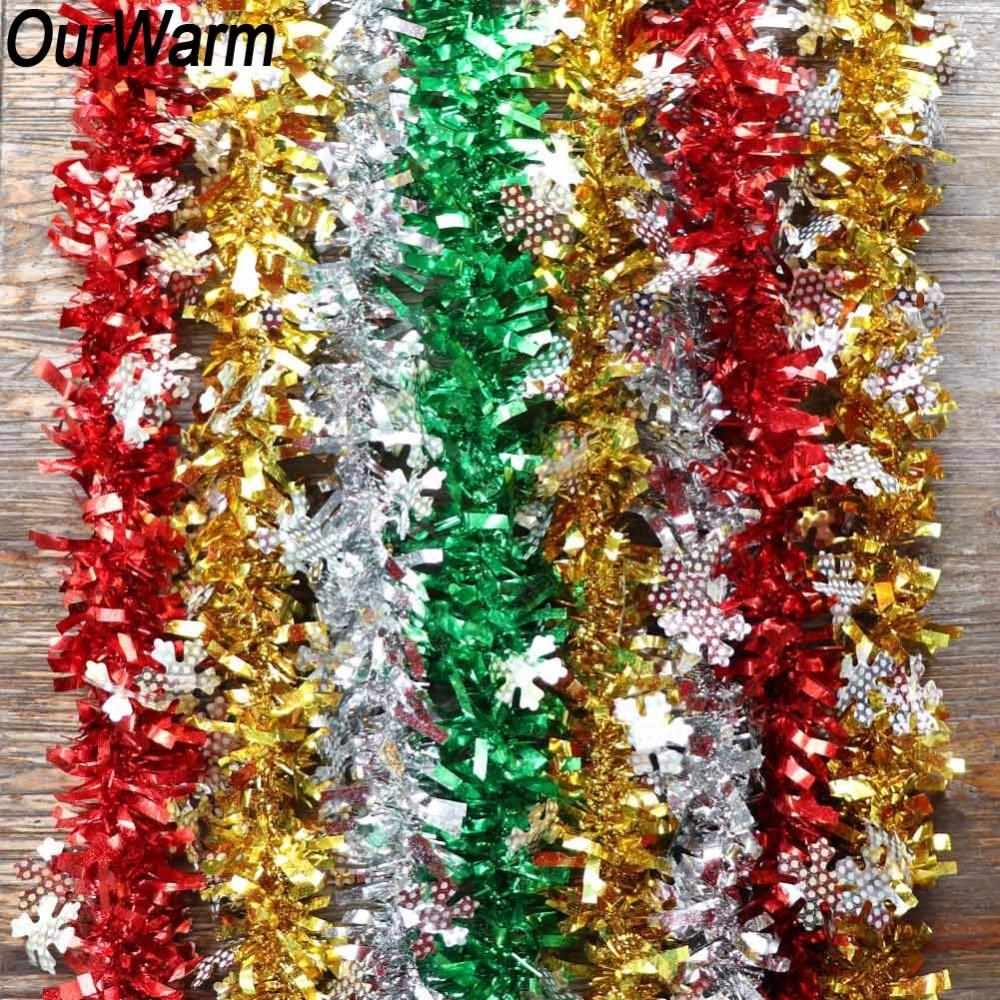 OurWarm 2M Christmas Tree Tinsel Garland Ribbon Bar Shiny
