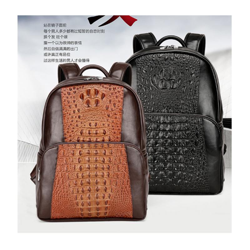 185851f9f6e6 male High Quality Genuine Leather Backpack Fashion Men Crocodile pattern  Travel laptop Bags School Bag Brand Design Backpacks