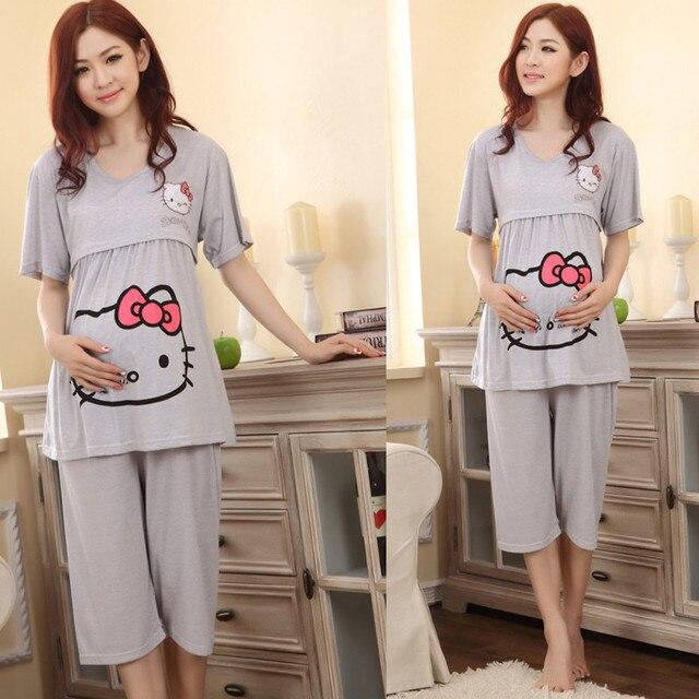 9cbbebf91 Nuevo verano 100% algodón pijamas de enfermería embarazada alimentación  vestido carácter pijamas mujeres embarazadas estiramiento