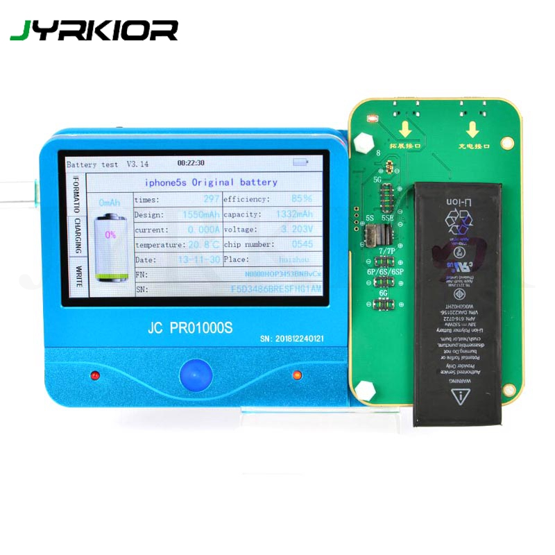 Jyrkior JC PRO 1000S Battery Health Tester Battery Test Tool One Key Clear Cycle For IPhone 5 5S SE 6 6P 6S 6P 7 7P 8 8P X