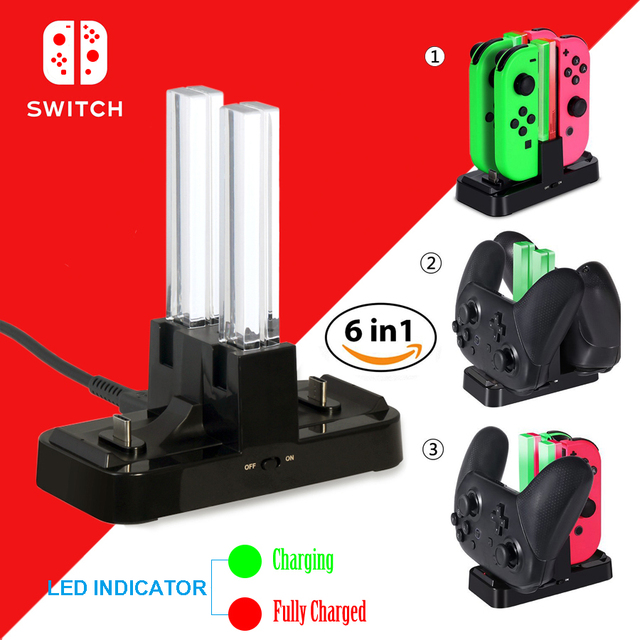 Nintend Switch NS Joy-Con & Dual Pro Controller Charger Nintendos USB Charging Dock Station with LED Indicator for Nintendo NX