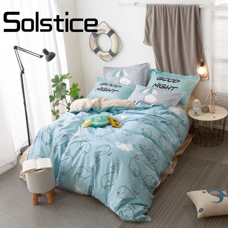 Solstice Home Textile  Light Blue Cartoon Dolphin Bedding Sets Dynamic Ocean Twin Size New Cotton Duvet Cover Sheet Pillow CasesSolstice Home Textile  Light Blue Cartoon Dolphin Bedding Sets Dynamic Ocean Twin Size New Cotton Duvet Cover Sheet Pillow Cases