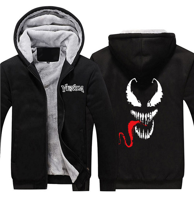 2018 Movie Venom Eddie Edward Brock Logo Hoodies Spider Man Zip Up