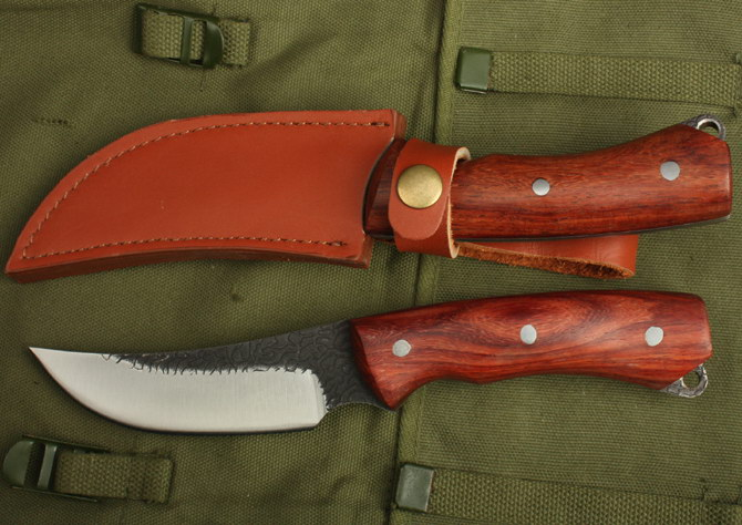 ФОТО Handmade Rescue Knife Forged High Carbon Steel Fixed Hunting Knife Tactical Survival Knife Red MAHOGANY Handle 1235#
