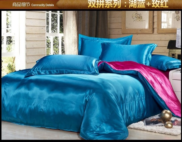 Green blue hot pink silk satin bedding forter set king