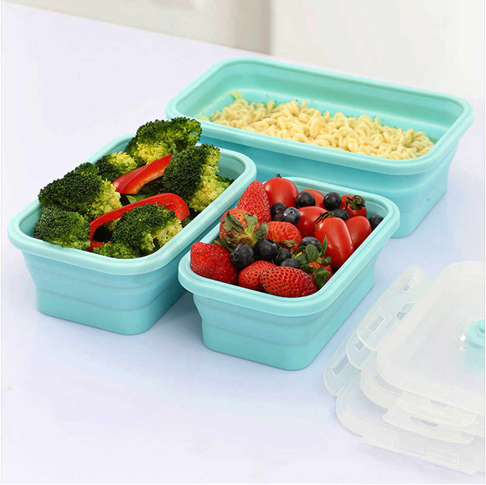 XYj Silicone Collapsible Lunch Box Food Storage Container Bento BPA Free Microwavable Portable Picnic Kids Rectangle Outdoor Box