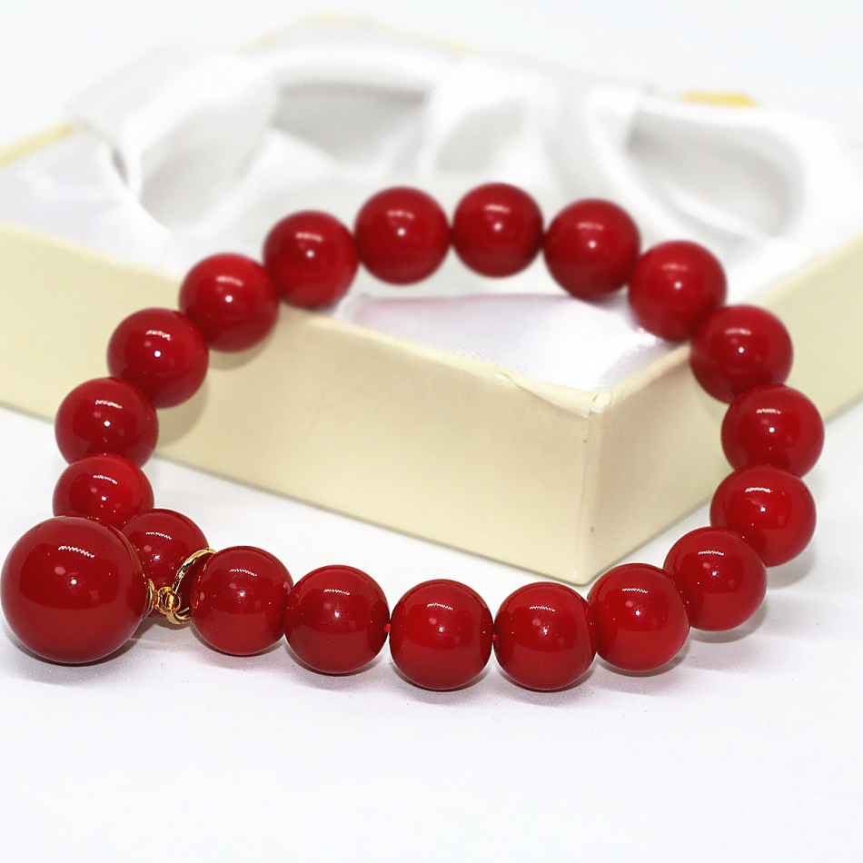 Charms red imitation coral round beads bracelet for women 10mm free shipping unique design high grade jewelry 7.5inch B1707