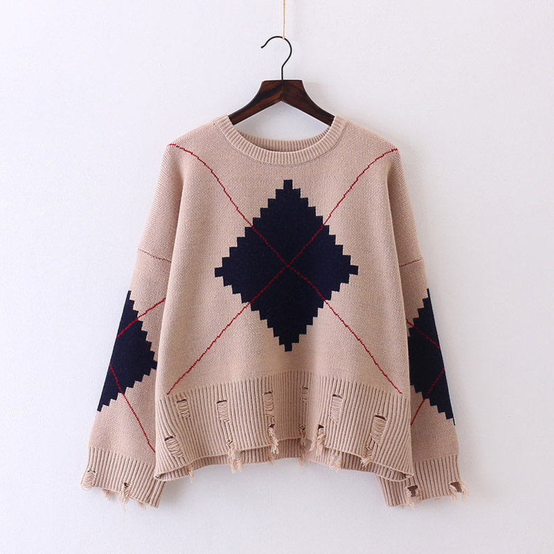 2018 Cotton O-neck Rushed Sweater Women Autumn Clothing New Pattern Korean Pullover Skirt Flash Diamond Lattice Sweater Woman