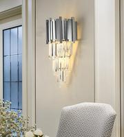 Modern Crystal Living Room Wall Lamp Bedroom Silver Lighting Villa Aisle Wall Lighting
