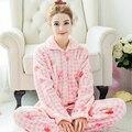 Pigiama flanela Inverno Coral Outono Sleepwear Mulheres Espessamento Conjuntos de Pijama de Flanela 100% Algodão Set Lounge Pijama Mujer Primark