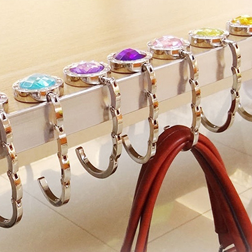 New Fashion Colorful Foldable Handbag Purse Hanger Convenient Table Hook Hang Round Rhinestone Holder Bag In Hooks Rails From Home Garden On