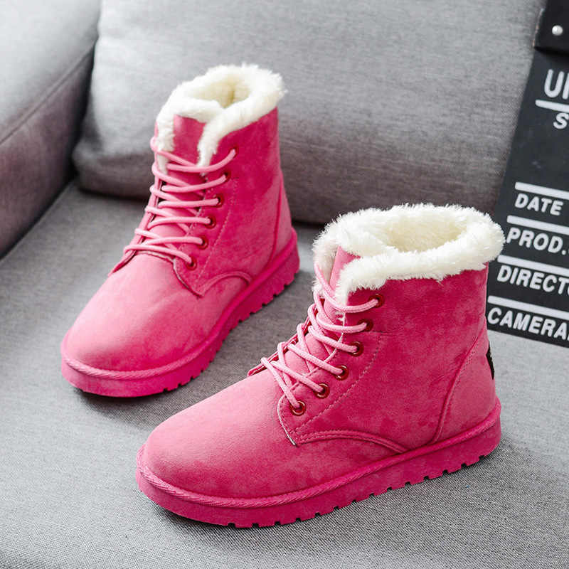נשים מגפי פו זמש חורף מגפי נשים תחרה עד נשים קרסול מגפי חם פרווה חורף נעלי מוצק שלג מגפי עור נשים נעליים