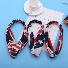 цены Women Girls 4th of July American Flag Star Headband Patriotic Bandana Hairband Cute Rabbit Ears Bowknot Hip Hop Festival Turban