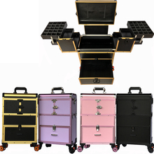 40099edd0 Caja de maquillaje de ruedas de múltiples capas caja de maquillaje  profesional de gran capacidad extraíble