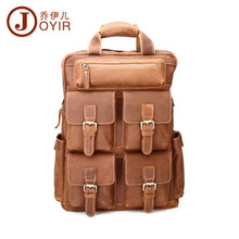 YISHEN Vintage Genuine Cowhide Leather Men Backpack Large Capacity Male Travel Backpack Multifunctional Men Backpacks QYRB826