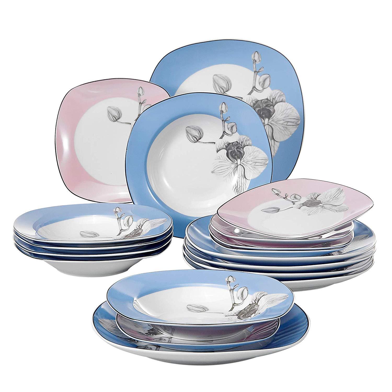 VEWEET DEBBIE004 18-Piece Porcelain Dinner Tableware Cutlery Set with 9.75 Dinner Plate 7.5 Dessert Plate 8.5 Soup PlateVEWEET DEBBIE004 18-Piece Porcelain Dinner Tableware Cutlery Set with 9.75 Dinner Plate 7.5 Dessert Plate 8.5 Soup Plate