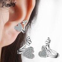 JYouHF Cute Heart Ear Clip On Earrings Without Piercing Lovely Heart Inlay AAA Zircon 925 Sterling