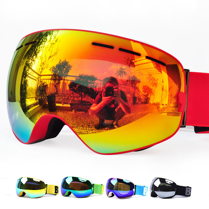 3ebcdfad257 GOG-3100 Double layers UV400 anti-fog polarized ski goggles for men women  big