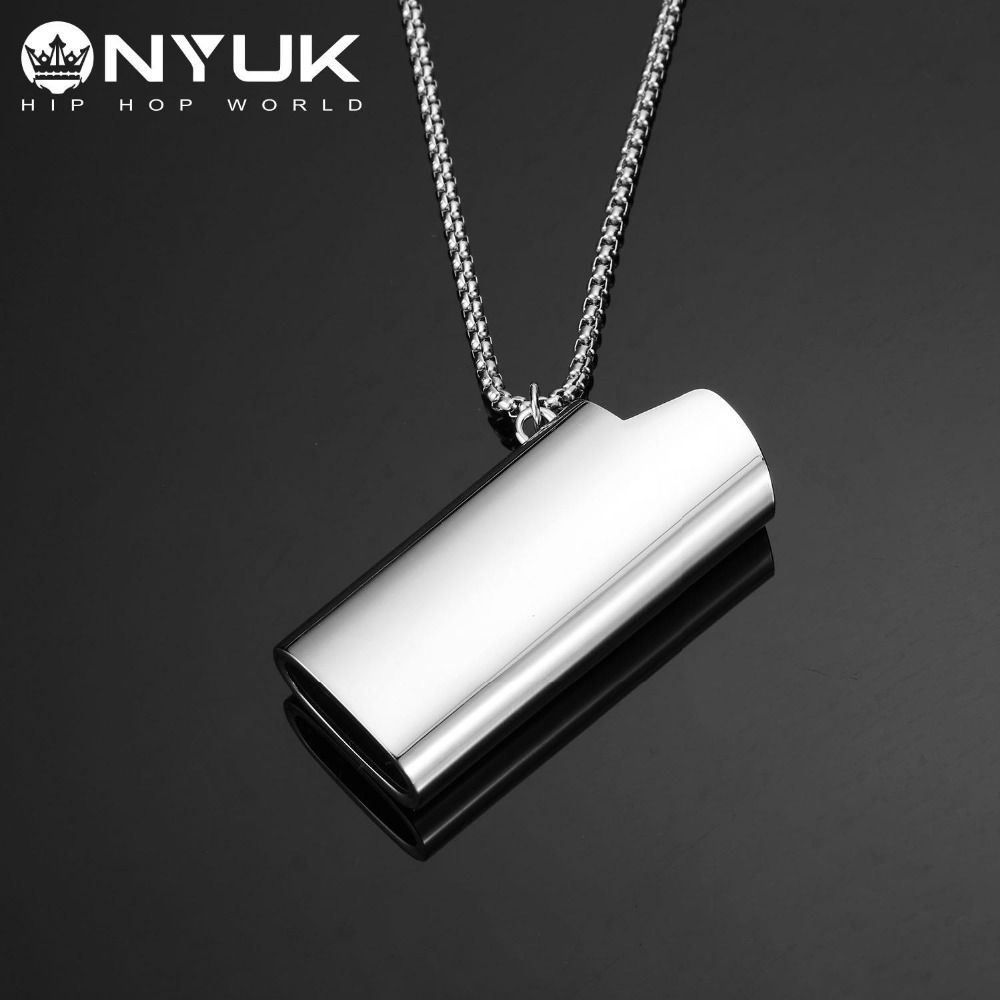 New Design Men Stainless Steel Lighter Cover Shape Pendant Necklace Silver Long Box Chain Hip hop Fashion DJ Jewelry 6506 fashionable stainless steel butane lighter keychain silver black