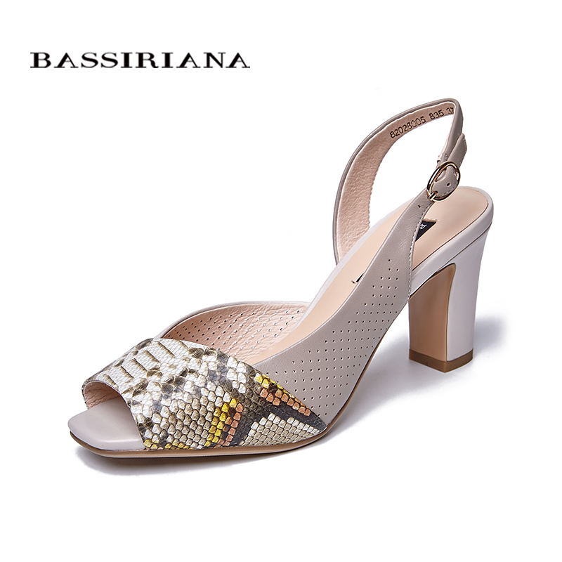 BASSIRIANA new 2018 Genuine leather summer Sandals women shoes High heels for ladies Peep toe prints